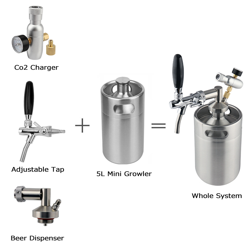 mini keg 5l,Pressurized Beer Keg System 64oz Stainless Steel Mini Growler Keg Adjustable Beer Tap Faucet Premium CO2 Charger Kit 2
