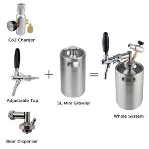 Image 2 - מיני חבית 5l, בלחץ באר חבית מערכת 64oz נירוסטה מיני רוטן חבית מתכוונן בירה ברז ברז פרימיום CO2 ערכת מטען