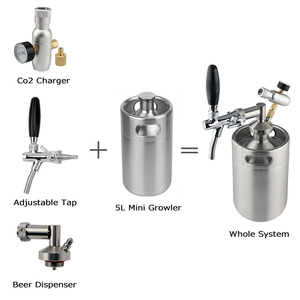 Image 2 - mini keg 5l,Pressurized Beer Keg System 64oz Stainless Steel Mini Growler Keg Adjustable Beer Tap Faucet Premium CO2 Charger Kit