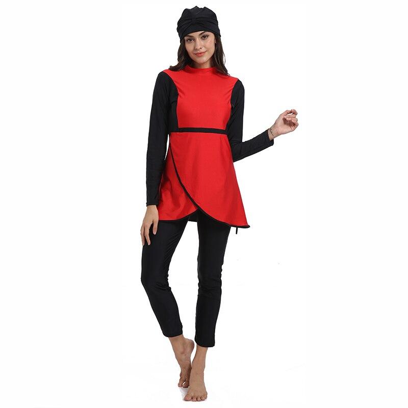 Image 2 - HAOFAN Muslim swimwear Women Middle East Islamic Traditional  Hijab Full Cover Burkinis Red Swimsuit Bathing Suit For Lady 4XLMuslim  Swimwear