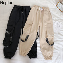 Neploe Hip Hop Streetwear Women Cargo Pants High Waist Pockets Ribbon Trousers Female Loose All Match 2020 New Fashion 90230 cheap COTTON Polyester Stretch Spandex Full Length Solid Flat None Broadcloth Elastic Waist