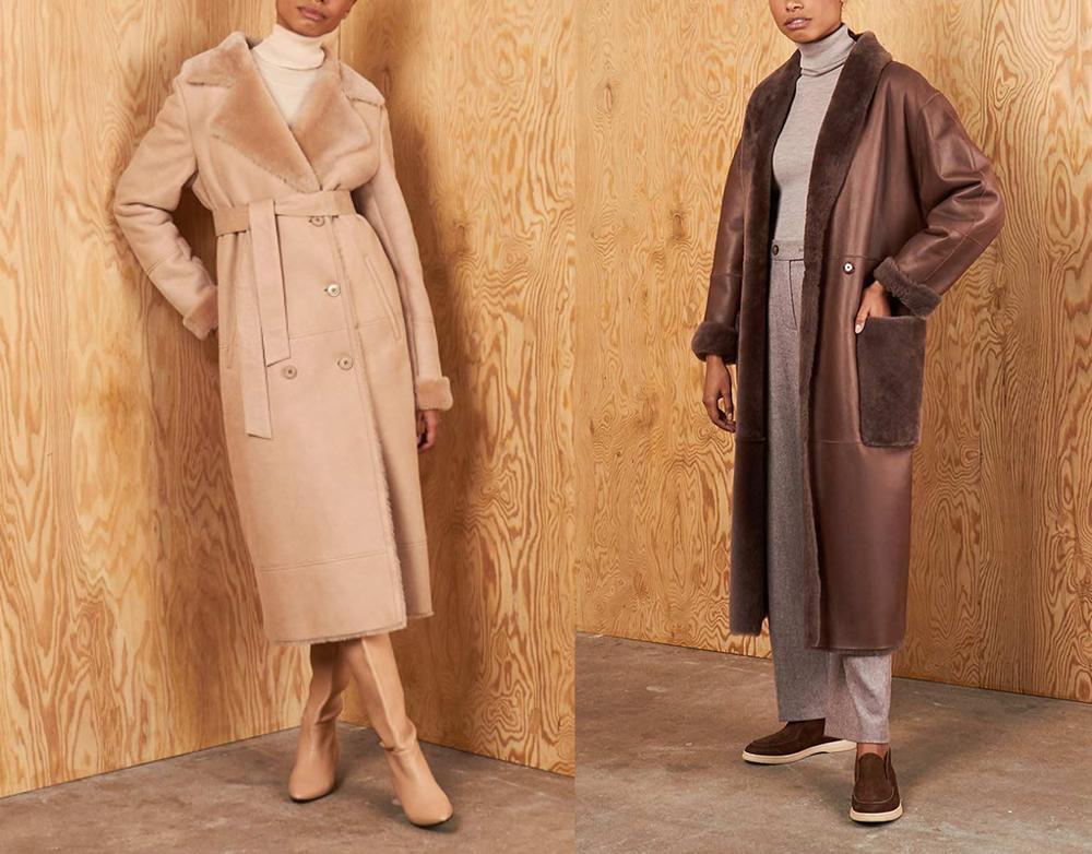 Winter 2020 Women Sheepskin Fur Coat Shearing Belt jacket Brown Genuine Leather Jacket Plus Size Winter Coat Women Fashion Wear