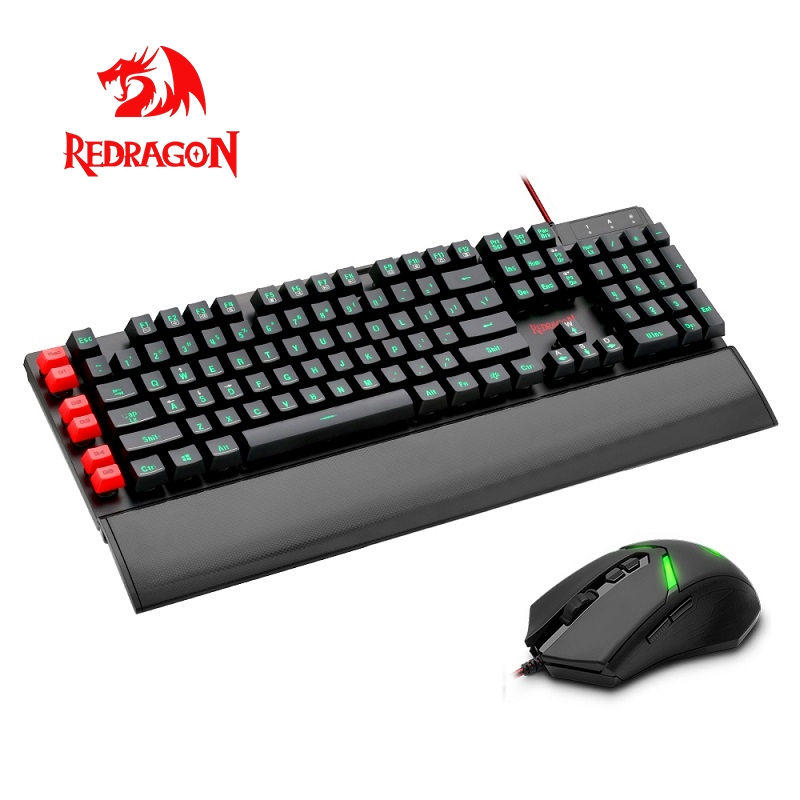Redragon S102 USB Gaming Membrane Keyboard mouse pad combos 104 standard keys 3000 DPI 7 buttons Mice Set Wired computer PC game