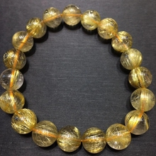 10.5mm Natural Brazil Gold Rutilated Titanium Quartz Bracelet Woman Man Wealthy Stone Clear Round Beads Crystal Charms AAAAAA