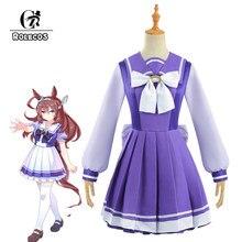 Rolecos anime uma musume bonito derby semana especial cosplay traje toukai teiou escola uniforme cosplay lolita vestido de marinheiro