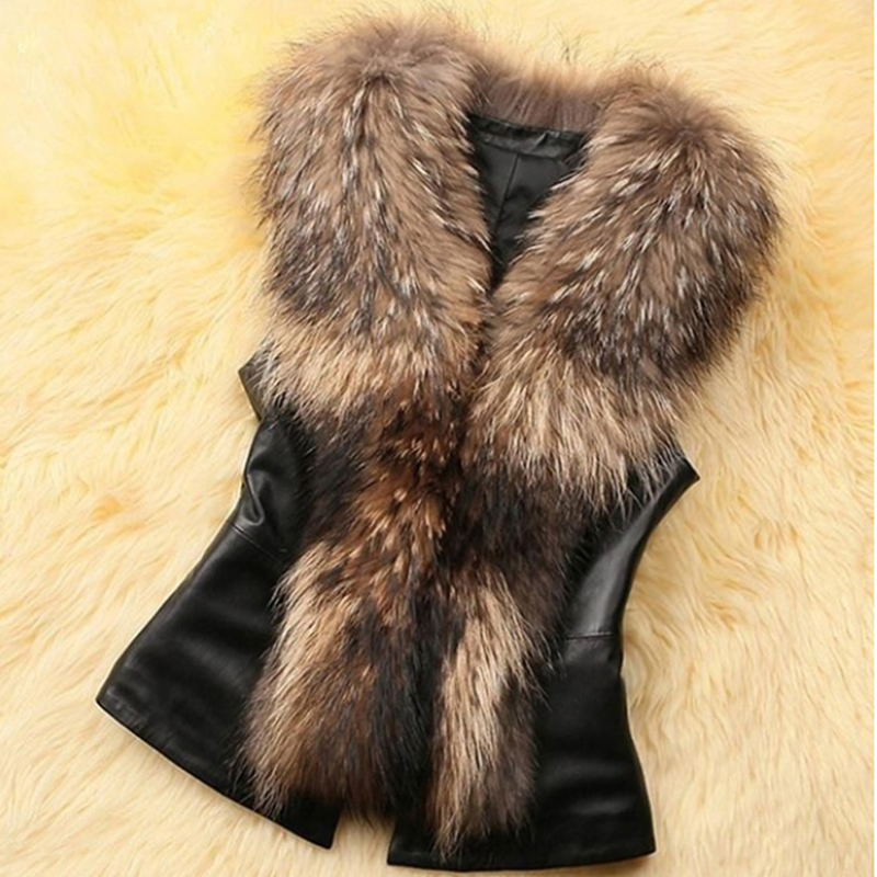 GAOKE Women PU Leather Faux Fur Coat 2020 Casual Plus Size Sleeveless Faux Fox Fur Collar Vest Winter Jacket Coat Women 3XL