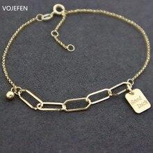 Vojefen au750 18k amarelo ouro ligação corrente conjuntos de jóias good good bom lucky'charm charme pulseira colar jóias para mulher comprimento ajustável