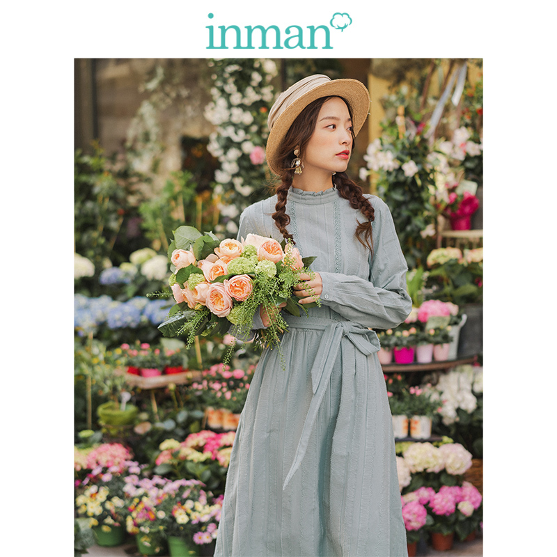 INMAN Spring Autumn Retro Lace Stand Up Collar Jacquard Cotton Defined Waist A-line Solid Romantic Women Dress