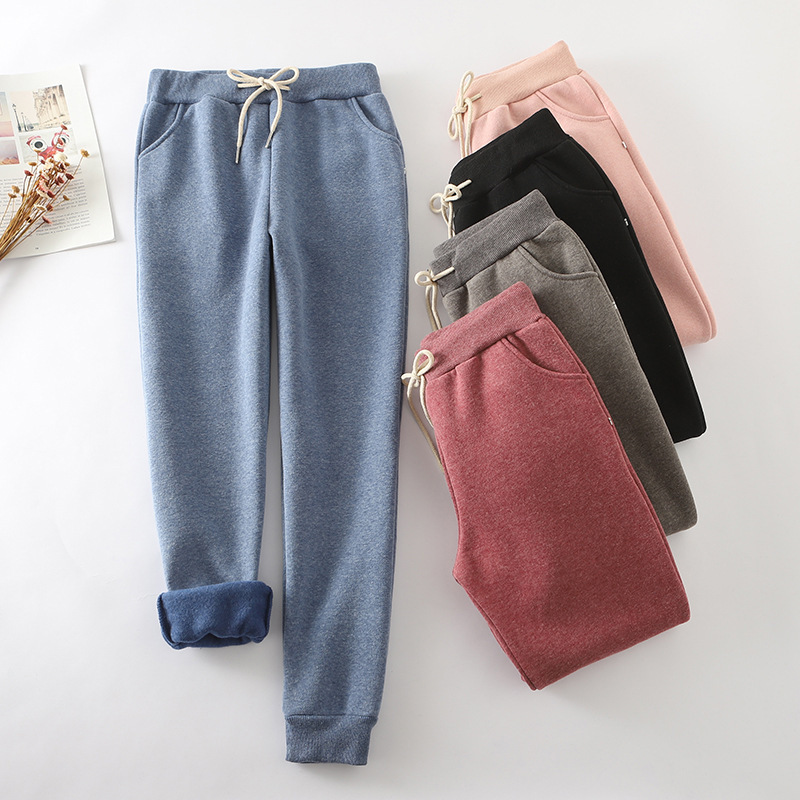 Autumn And Winter Plus Velvet Sweatpants Women Straight Thick Warm Harem Pants Women Fleece Ankle-Length Pants Casual Trousers
