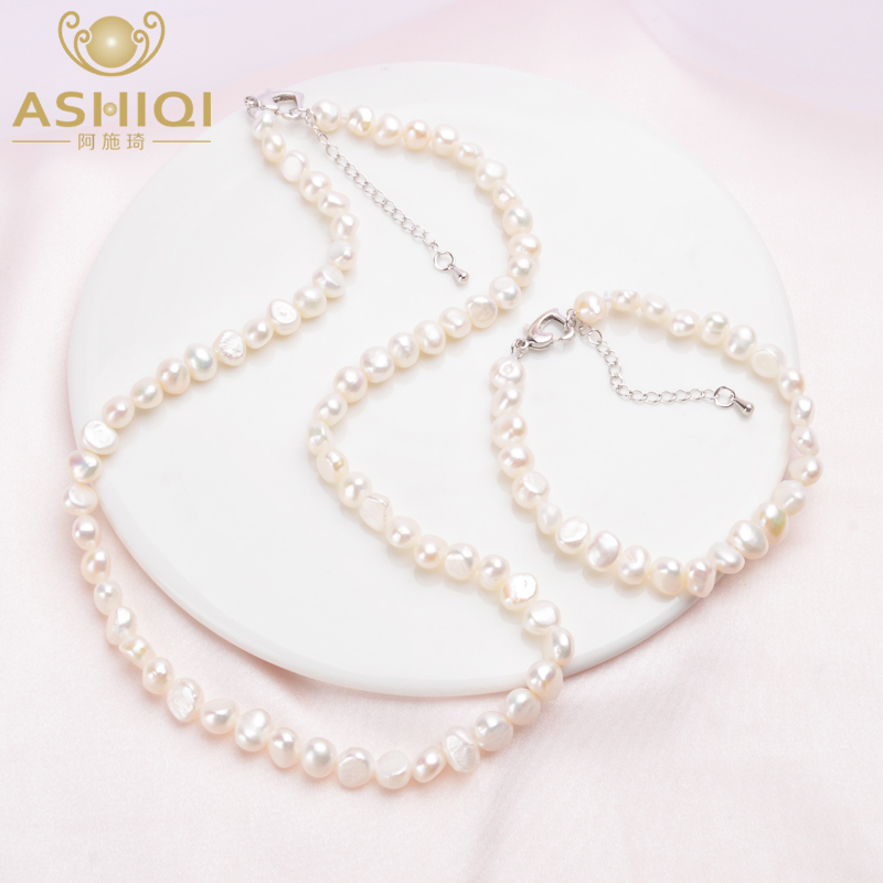 ASHIQI Natural Baroque Pearl Jewelry Sets 7-8mm Real Freshwater Pearl Vintage Necklace Bracelet For Women New Arrival