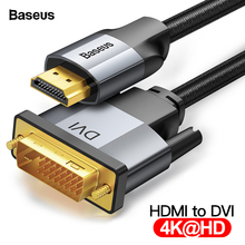 Baseus DVI to HDMI Cable Two-way Male to Male 4K HDMI to DVI D Adapter Converter DVI-D Video Cable for PS4 PC HD TV Projector hdmi to dvi cable hdmi dvi d 24 1 pin adapter 1080p dvi d male to hdmi male converter cable for hdtv dvd projector 1m high speed