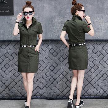 6611 koreański styl jednolity jednoczęściowy spódnica kamuflaż sport chen yi qun studenci średniej długości koszula sukienka letnia odzież dla kobiet tanie i dobre opinie Chemiphenol Comey Feller Solid Color China