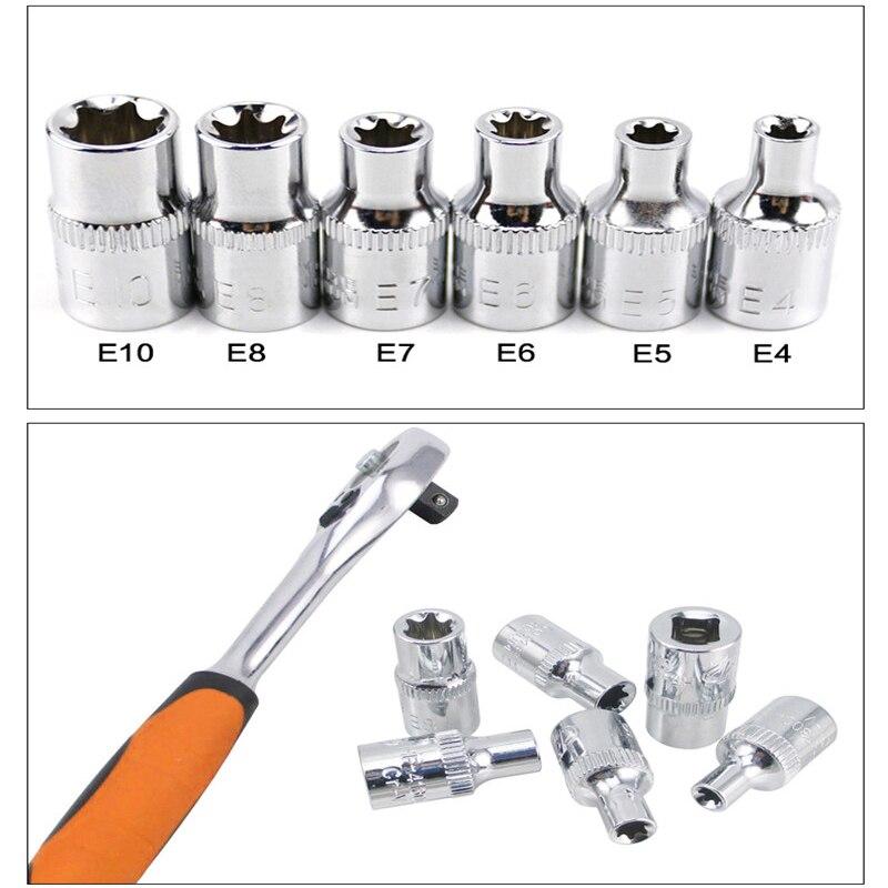 6pcs 24/26mm 1/4 Inch(6.3mm) Torx Star Bit Female E Socket Set E4 E5 E6 E7 E8 E10 Silver Stronger Torque