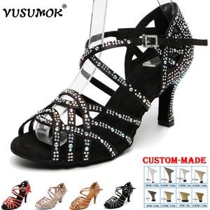 VUSUMOK Women Latin Salsa Dance Shoes Soft Bottom Confortable Rhinestone Dance Shoes Zapatos de baile latino mujer Sexy Pumps(China)
