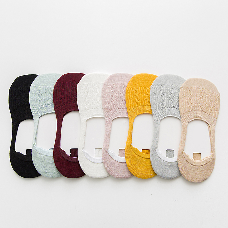 Candy Color Invisible Non-slip Low Cut Socks Fashion Women Casual Cotton Breathable Ankle Boat Socks 5Pairs