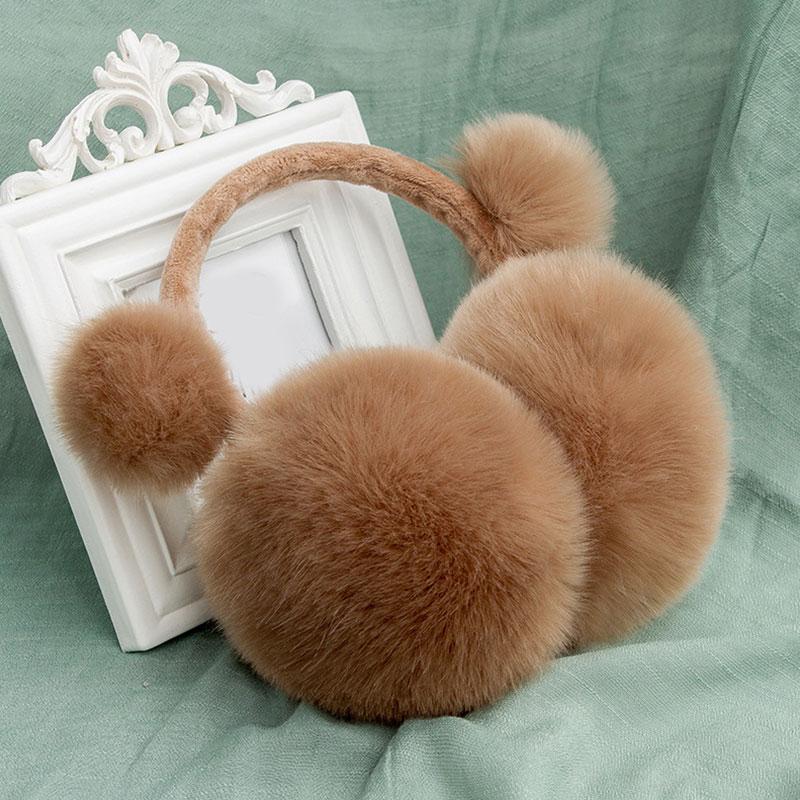 Adult Children Winter Earmuffs Faux Rabbit Fur Pompom Soft Plush Warm Ear Cover Fashion Cartoon Cute Girls Women  Earmuffs