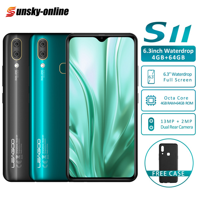 """Android 9.0 LEAGOO S11 Smartphone 6.3"""" Waterdrop Full Screen 8MP+13MP 4GB+64GB Octa Core Global Lte Bands Dual 4G Mobile Phone"""