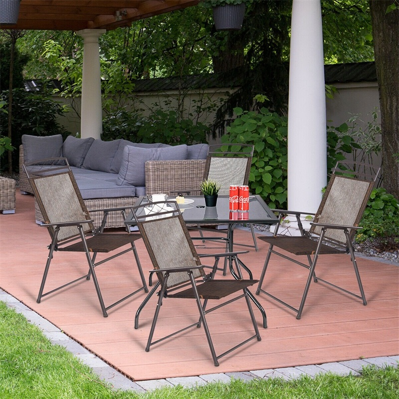 Set Of 4 Outdoor Folding Sling Chairs High Quality Modern Chair Set Garden Outdoor Patio Home Furniture HW52894