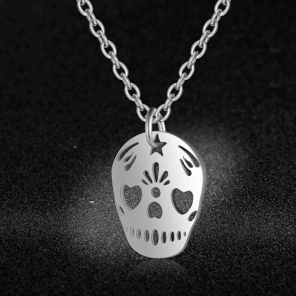 AAAAA Quality 100% Stainless Steel Skull Charm Necklace for Women High Polish Wholesale Never Tarnish Jewelry Necklace