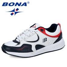 BONA yeni tasarımcı inek bölünmüş koşu ayakkabıları erkekler Sneakers sıçrama açık spor ayakkabılar profesyonel spor ayakkabıları adam moda