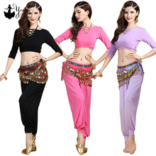 New 2 Piece Set Women Belly Dance Practice Costume Modal Yoga Tops 3/4 Sleeve and Pants Adult Dance Costume Multicolor Spring