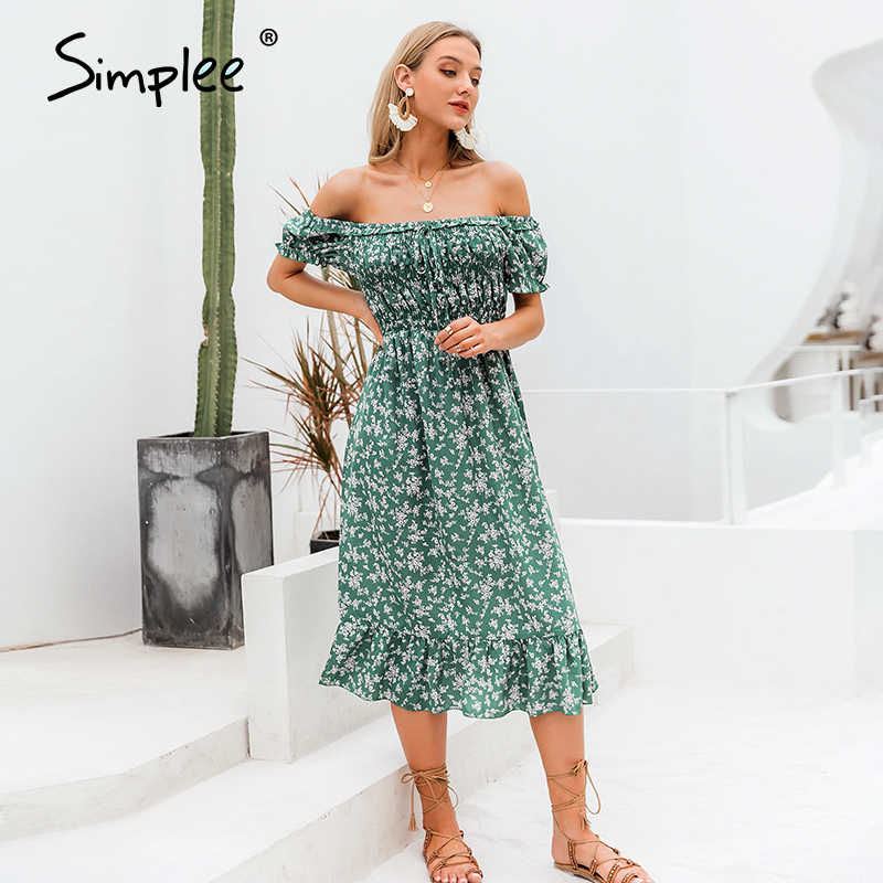 Simplee Off Shoulder Women Boho Dress Floral Print Ruffle High Waist Female Midi Dress Holiday Summer Beach Ladies Dresses 2020
