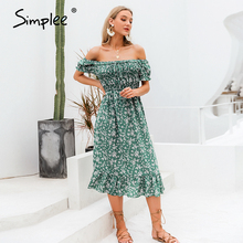 Simplee Off shoulder women boho dress Floral print ruffle high waist female midi dress Holiday summer beach ladies dresses 2020