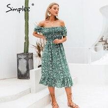 Simplee kapalı omuz kadınlar boho elbise çiçek baskı fırfır yüksek bel kadın midi elbise tatil yaz plaj bayanlar elbiseler 2020
