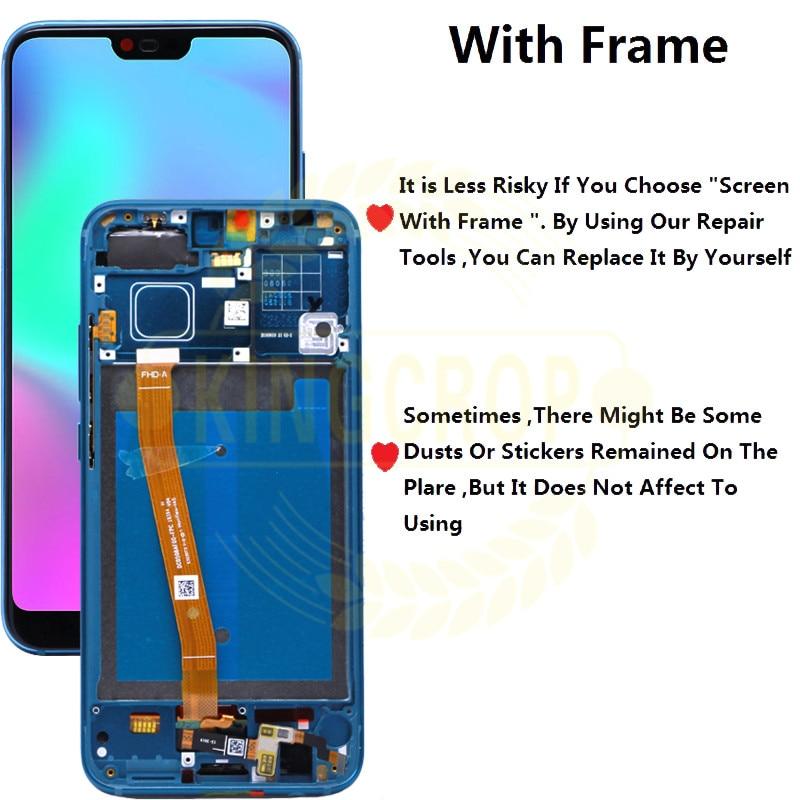 Image 4 - Para Honor 10 pantalla con marco para Huawei Honor 10 pantalla LCD Panel táctil con piezas de repuesto de ensamblaje de huellas dactilaresPantallas LCD para teléfonos móviles   -