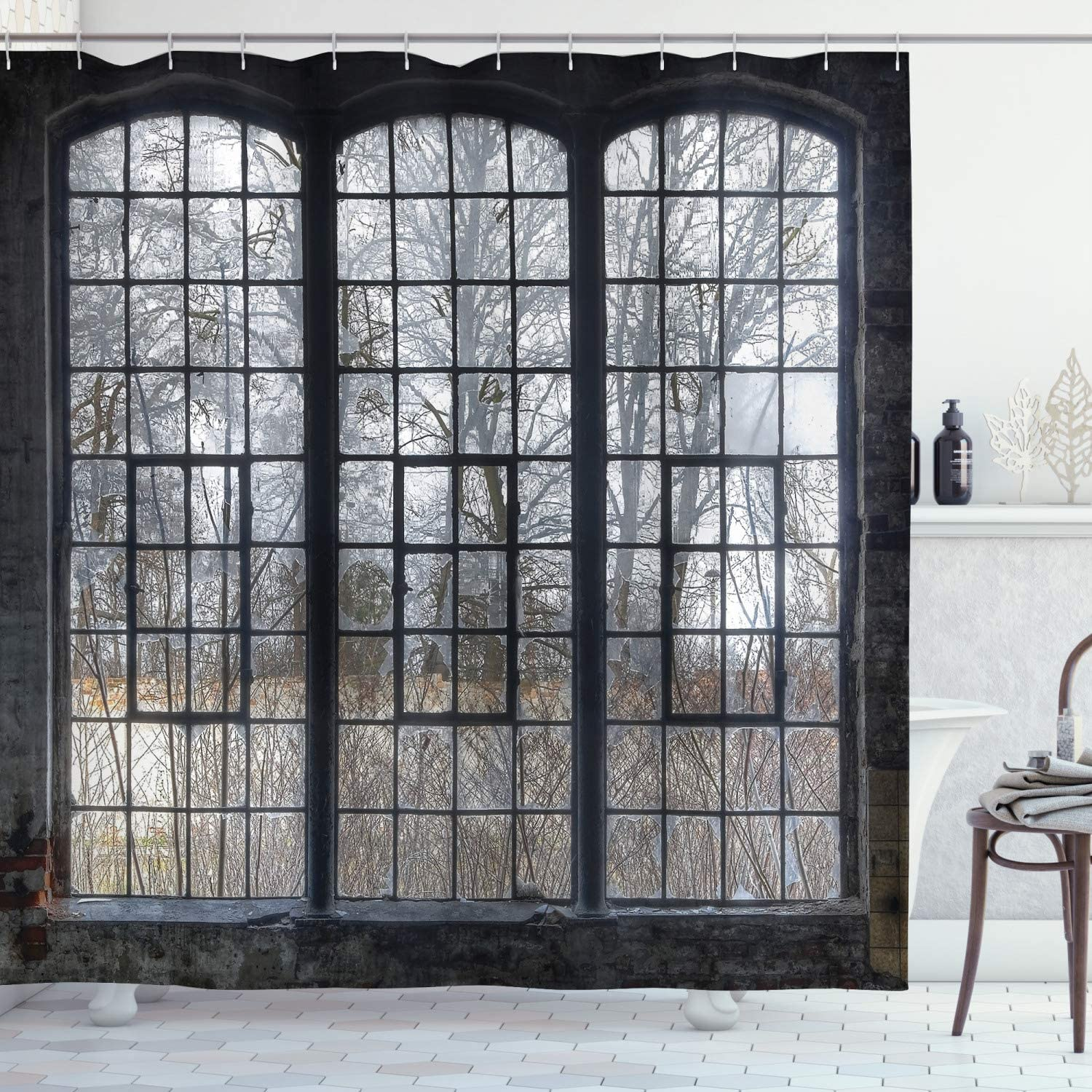 industrial shower curtain old large window with broken panes deserted hall forest trees winter bathroom decor set with hooks 84
