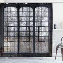 Cortina de chuveiro industrial velho grande janela com painéis quebrados desertos hall árvores floresta inverno decoração do banheiro conjunto com ganchos 84