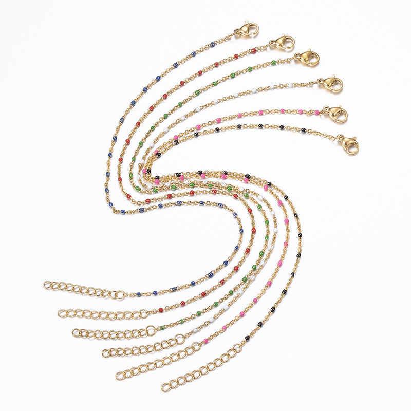 1 PC Baru Stainless Steel Gelang Kaki Enamel Emas Multicolor Di Kaki Pergelangan Kaki Gelang Wanita Trendi Pria Kaki Rantai Perhiasan panjang 23 Cm