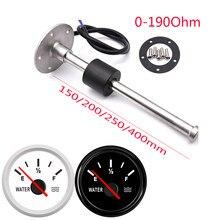 52MM Gauge Wasserstand Manometer Rot Licht 0-190Ohm Wasser Tank Ebene Anzeige Meter mit Kraftstoff Level Sensor 150MM 200MM 250MM 400MM