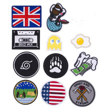 Mermaid USA Flag Tape Iron on Patch Embroidered Applique Sewing Money Patch Clothes Stickers Garment DIY Apparel Accessories(China)