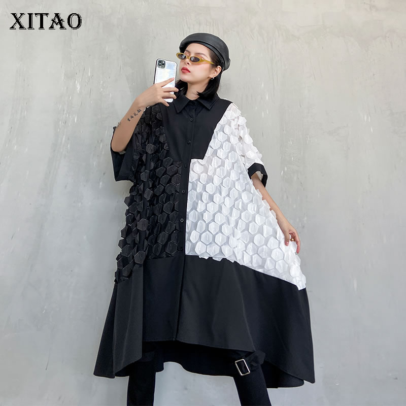 XITAO Streetwear Plus Size Women Dress Fashion Single-breasted Black And White Contrast Dresses Oversized Short Sleeve XJ3936
