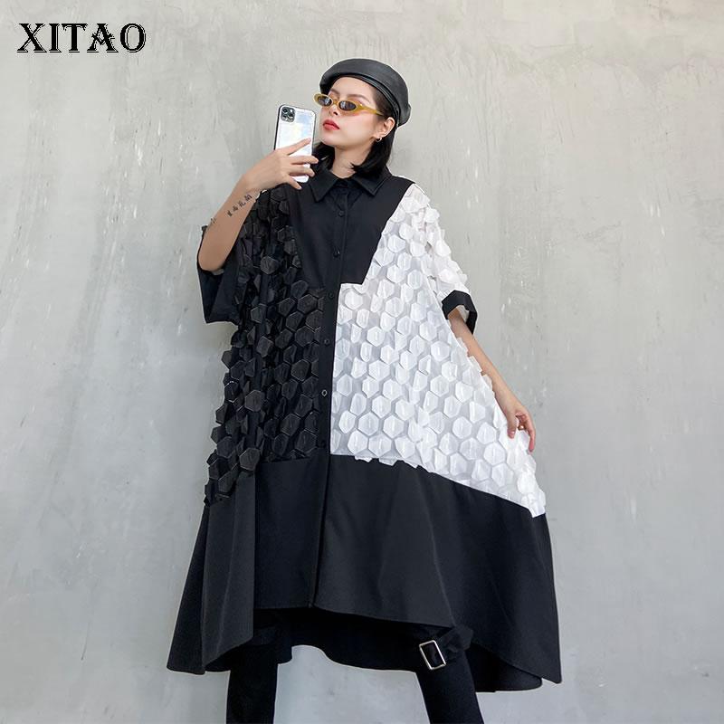 XITAO Streetwear Plus Size Women Dress Fashion Single-breasted Black And White Contrast Dresses Oversized Short Sleeve XJ3936