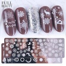 Рождество ногтей штамповки пластины снежинки кленовый лист зимнее изображение геометрический лак трафарет дизайн ногтей шаблон плесень CHSTZN01-12-1