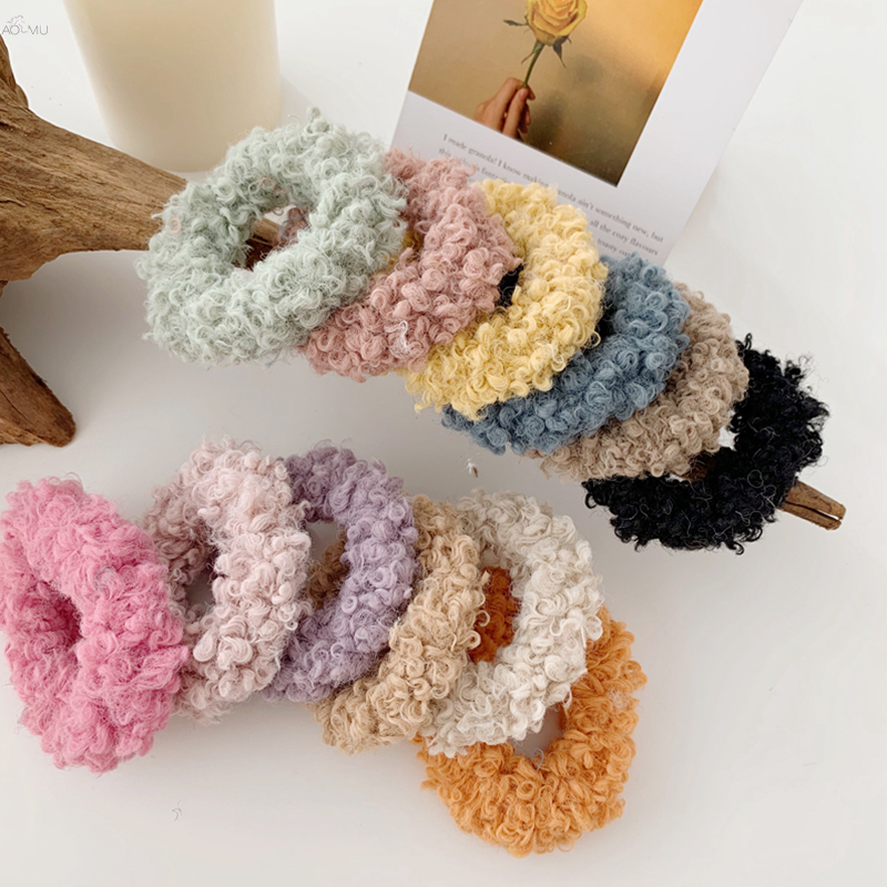AOMU 2019 Korea Colorful Lambswool Hair Bands Women Faux Fur Elastic Hair Rope Rubber Bands Ponytail Holder Hair Accessories