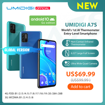 "UMIDIGI A7S 6.53"" 20:9 Large Full Screen 32GB 4150mAh Triple Camera Global Version Cellphone Infrared Temperature Sensor Type C"
