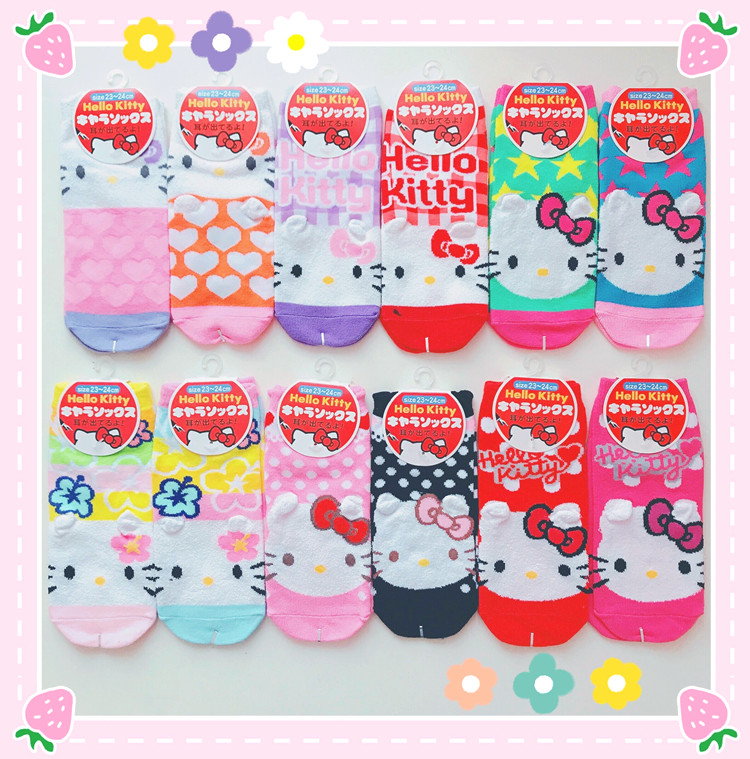 Hello Kitty Sock Women Cute Cartoon Cotton Socks HelloKitty Socks For Girls Children Christmas Gift Dropship