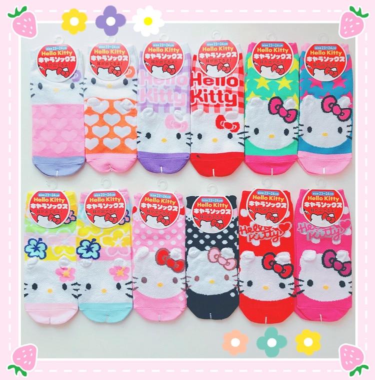 Hello Kitty Sock Women Cute Cartoon Cotton Socks HelloKitty Socks For Girls Children Christmas Gift Dropship