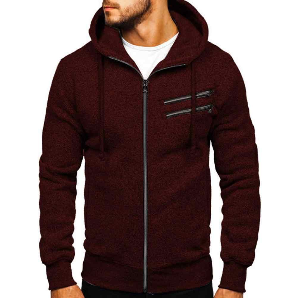 남자 가을 겨울 스웨터 후드 따뜻한 후드 가디건 지퍼 아웃웨어 스포츠 블랙 그레이 streetwear sudaderas hombre 꼬리표