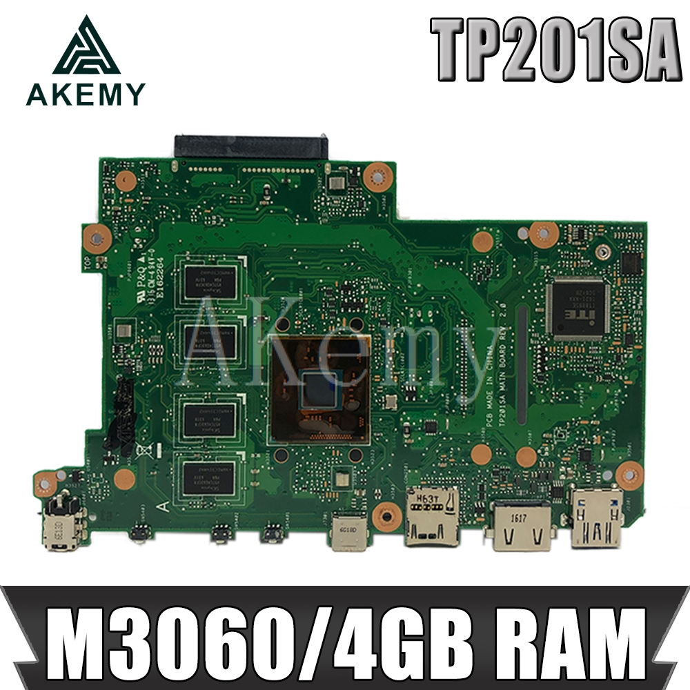AKEMY TP201SA Original Mainboard For ASUS Flip VivoBook TP201 TP201S TP201SA Laptop Motherboard With M3060U 4GB RAM