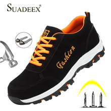 SUADEEX Steel Toe Shoes Men Breathable Work Safety Sneakers Lightweight Industrial Construction Slip Resistant Footwear