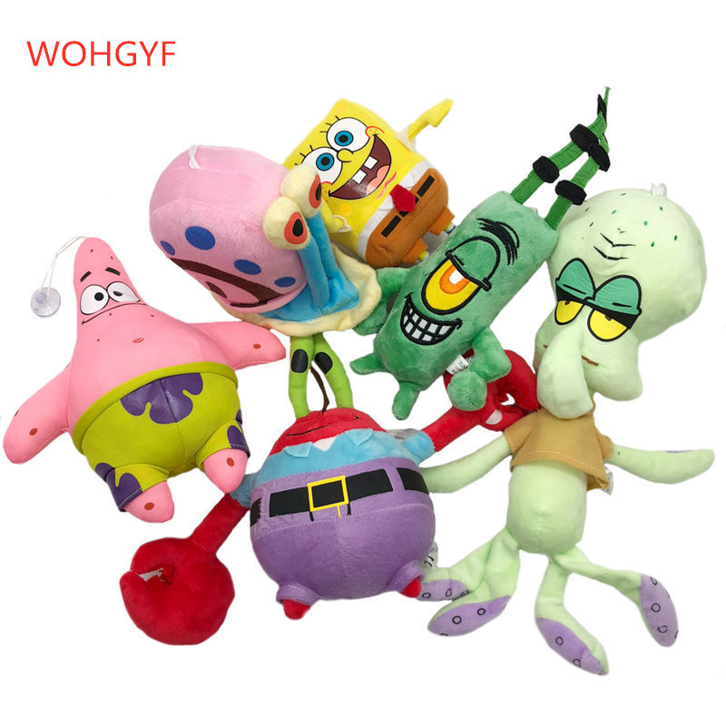 Image 1 - 1pc Cute SpongeBob plush toys SpongeBob/Patrick Star/Squidward Tentacles/Eugene/Sheldon/Gary stuffed doll Toys for Kids Girls-in Stuffed & Plush Animals from Toys & Hobbies