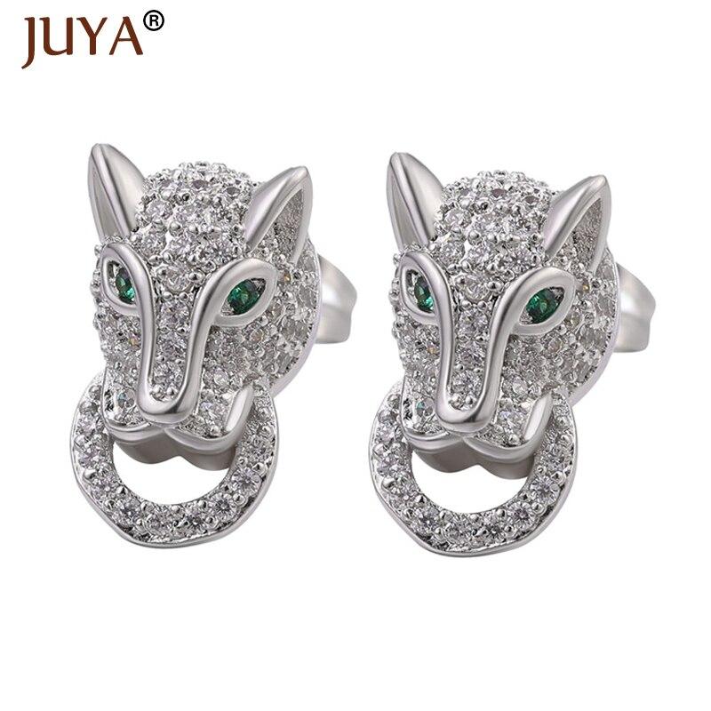 Juya Fashion Leopard Earrings Copper Metal Zircon Crystal Earrings For Woman Man Earring Accessories Animal Stud Brincos