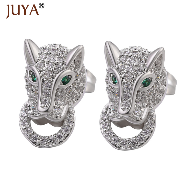 Juya Fashion Leopard Earrings Copper Metal Zircon Crystal Earrings for Woman Man Earring Accessories Animal Stud Brincos