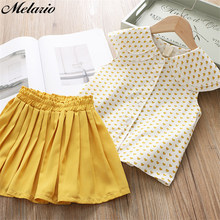 Casual Girls Dresses Brand Kids Clothes Butterfly Sleeve Letter T-shirt Floral Voile Dress 2Pcs for Clothing Sets Children Dress(China)