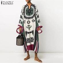 Kaftan Zanzea Women Maxi-Dress V-Neck Vintgae Long-Sleeve Vestidos Party Ethnic-Printed