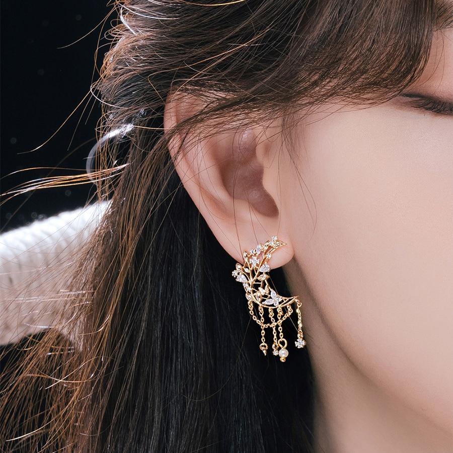 New Korean Metal Zircon Moon Tassel Drop Earrings For Women Students Fashion Boucle D'Oreille Party Jewelry Gifts